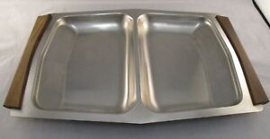 Vintage Danish Stainless Steel Double Serving Tray - 60's/70s? -Teak Handles