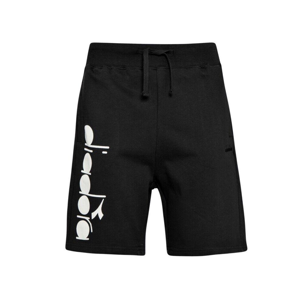 Bermuda Homme Diadora Sport Coton Noir De Fantaisie 5palle Logo Blanc