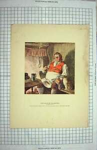 Original Old Antique Print Colour Portrait John Willet Maypole Barnaby Rudge