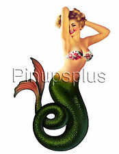 Pinup Girl Waterslide Decal Sticker Retro Mermaid Bathrooms, Guitars & more S248