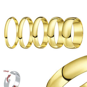 9ct-Yellow-Gold-Heavy-Weight-D-Shaped-Solid-Wedding-Ring-Band-Solid-amp-Hallmarked