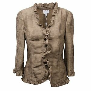Image is loading C4322-Giacca-Donna-Armani-Collezioni-Beige-Verde-Jacket- 22919fd2a7
