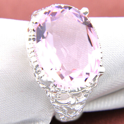 Jewelry gift Lovely Oval Cut Sweet Pink Topaz Gems Silver Ring US Size 7 8 9