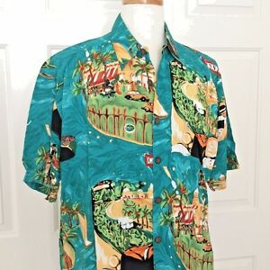 KAHALA-Hawaiian-Shirt-L-Mens-Rayon-Rare-CANNES-Large-Green-Made-in-Hawaii-USA