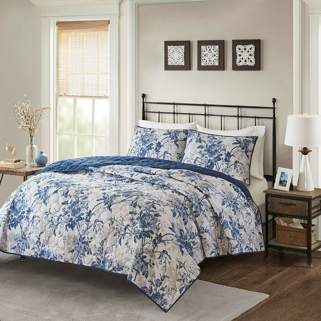Cottage Navy Weiß Floral Cotton 3 pcs Quilt Coverlet Cal King Queen Set