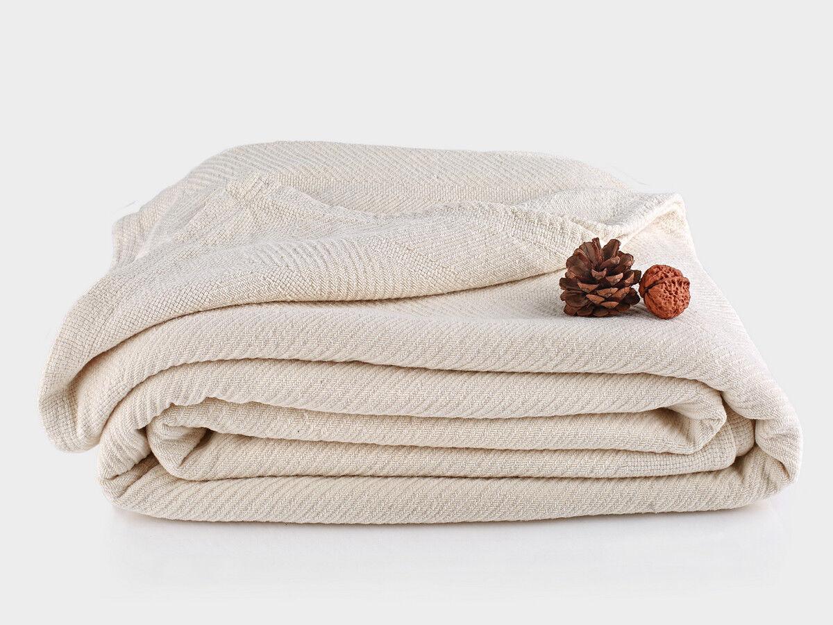 Organics and More Cotton Chenille Herringbone Blanket - Twin - Natural - TWCHB-1