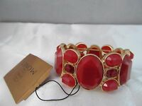 Monet Gold & Large Dark Red Stones Statement Bracelet, Detailed Signed