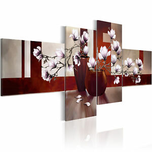 wandbilder xxl magnolien blumen abstrakt leinwand bilder wohnzimmer 0107 20 ebay. Black Bedroom Furniture Sets. Home Design Ideas