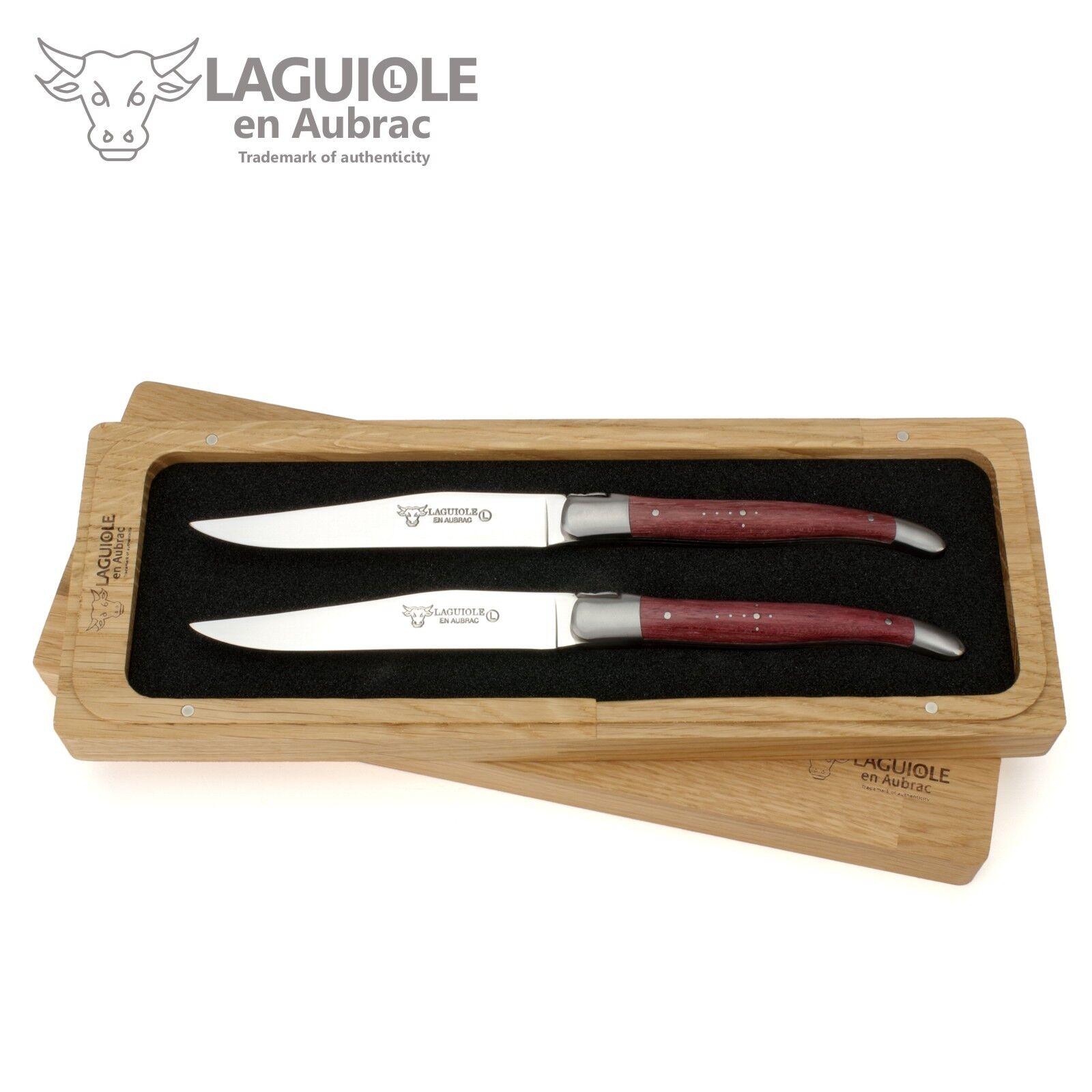 Laguiole en Aubrac - - - 2er Set Laguiole Steakmesser Frankreich - Griff Amaranth     | Gewinnen Sie das Lob der Kunden  3cbaa1