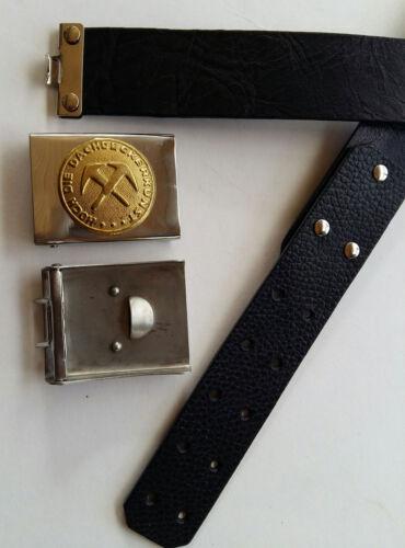 M20 Gürtelschnalle mit Ledergürtel,silber-gold mit Emblem