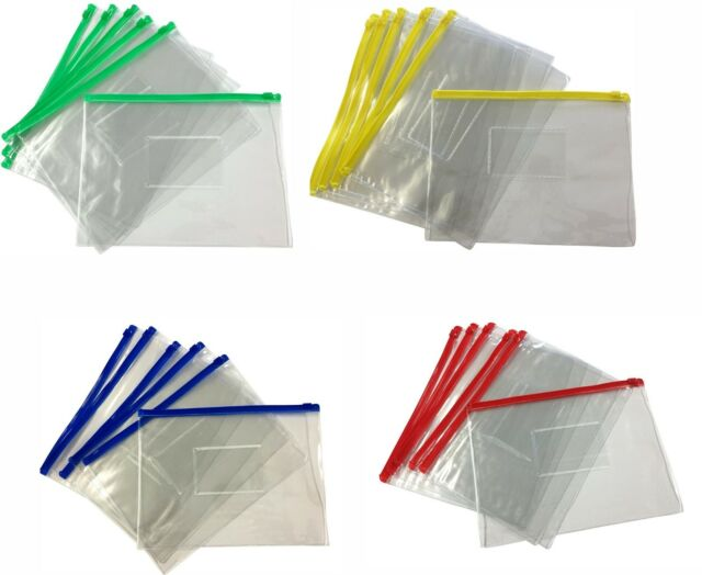 Strong Plastic Clear Zippy Bags File Storage Document Folder Wallet Various Size