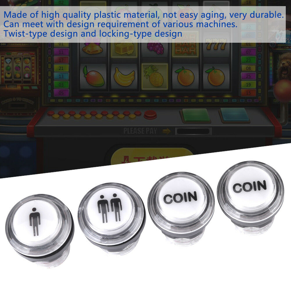 1 Player 2 Player Coin Chrome 30mm LED Lighting Button With Micro Switch Parts