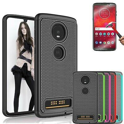 For Motorola Moto Z4 Case Shockproof Luxury Rubber Cover With Screen Protector Ebay