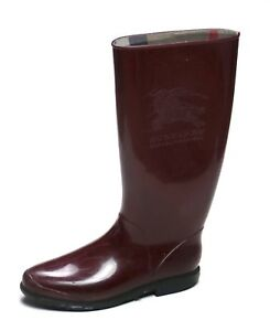 5a1355babab BURBERRY Women s Burgundy Nova Check Rain Boots Shoes Size  US 5 38 ...