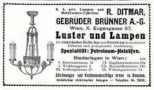 R. Ditmar Gebr. Brünner Wien Luster und Lampen K.k. privHistorische Annonce 1909