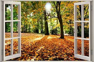 3d effekt fenster aussicht herbst wald natur aufkleber. Black Bedroom Furniture Sets. Home Design Ideas