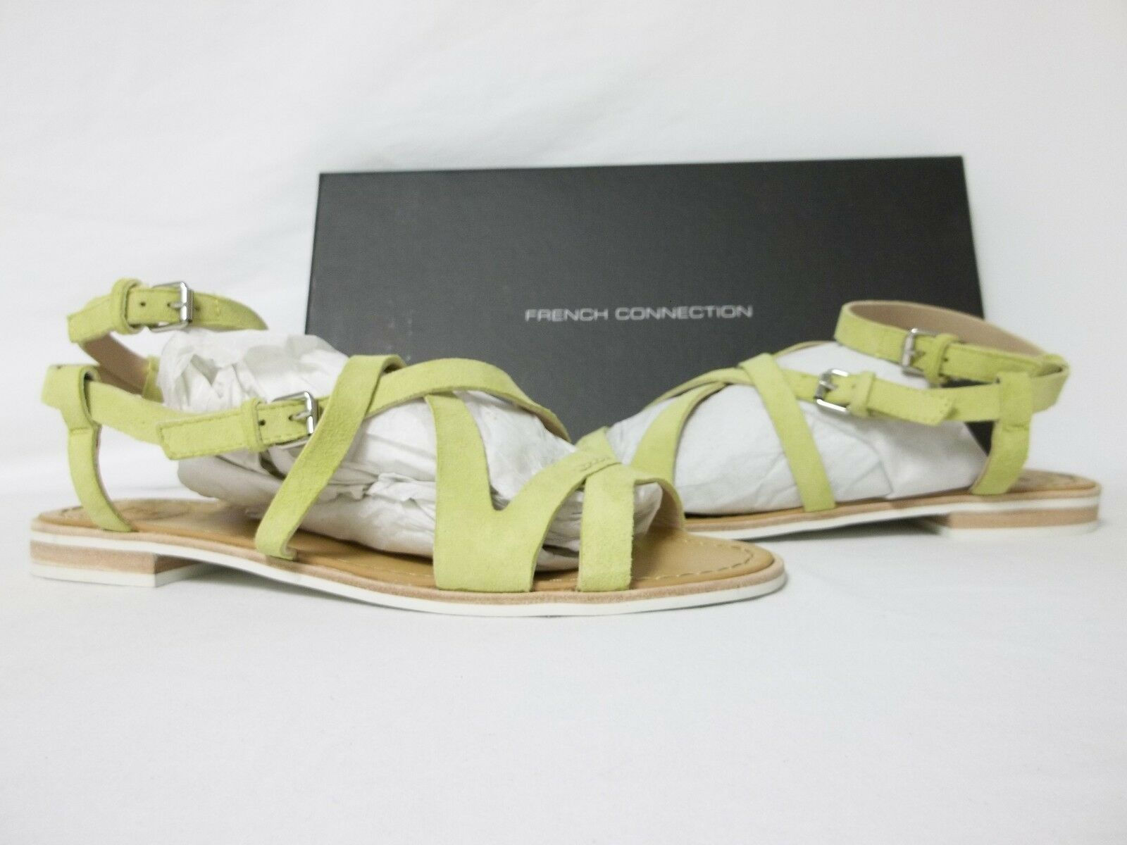 French Connection 7.5 M Harper Lemon Leather Gladiator Sandals New Womens shoes