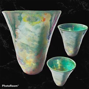 Vintage Contemporary Raku Style Pottery Studio Art Vase Signed Multi Color