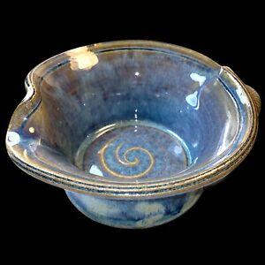 Dick Lehman Pottery Blue Nested Swirl Bowl Goshen Indiana