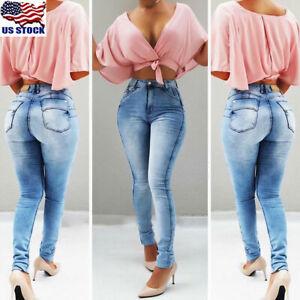 Womens-High-Waist-Denim-Jeans-Skinny-Stretch-Slim-Long-Pants-Pencil-Trousers-USA