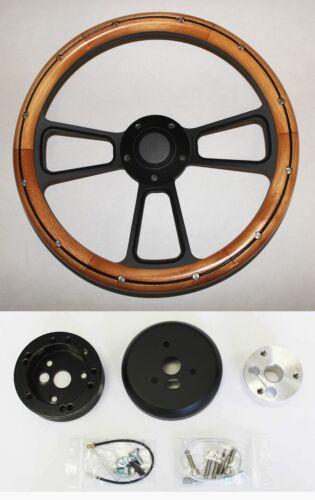 "Barracuda Cuda Fury Belvedere Polara Alder Wood Grip on Black Steering Wheel 14/"""
