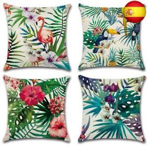 Gspirit-4-Pack-Tropical-Flamenco-Flor-Hojas-Algodon-Lino-Throw-Pillow-Case