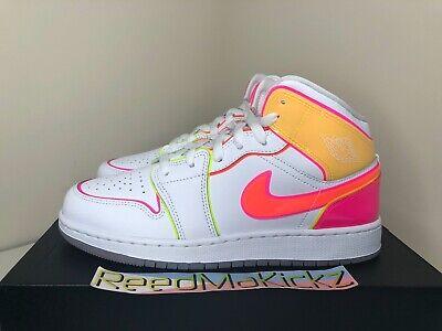 Nike Air Jordan 1 MID Edge Glow White Hyper Crimson Grade School Size CV4611 100 | eBay