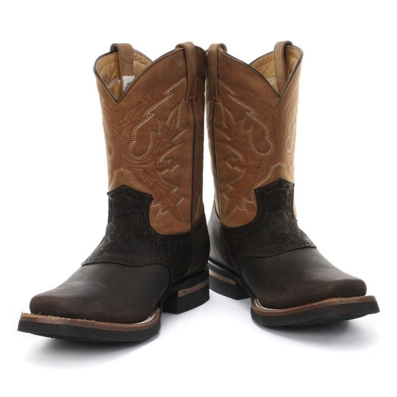New Grinders Frontier Frontier Frontier Tan Brown Real Leather Cowboy Boot Slip On Mid Calf Boots 3ef98f