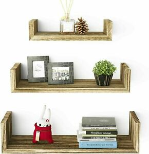3 PCS Floating Shelves Wall Rustic Wood for Bathroom Living Room Bedroom Office