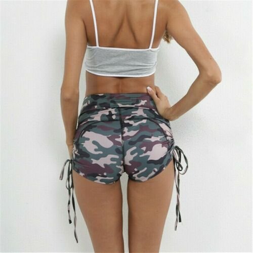 Damen Tarnung Shorts Yoga Fitnessstudio Mini Hot Pants Gamaschen Geschnürt Slim