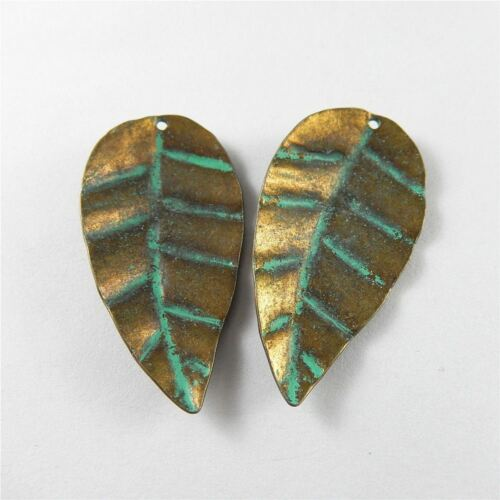 8pcs Bronze with Green Alloy Cute Leaves Pendants Charms Findings Crafts 52310
