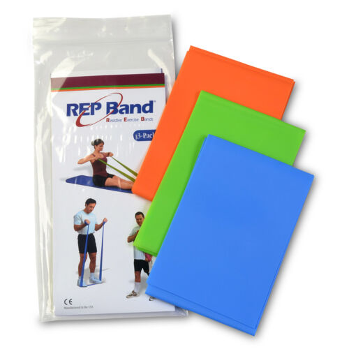 LATEX FREE Rep Band 3 Packs Resistance Therapy Exercise Cut Bands Gym LT-HVY