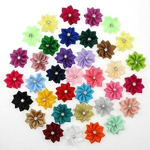 40Pcs-Satin-Ribbon-Flower-Diamond-Appliques-Craft-Wedding-Party-Sewing-DIY-Decor