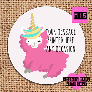 Llama unicorn party stickers . personalised , sweet cone labels  m15 baby shower
