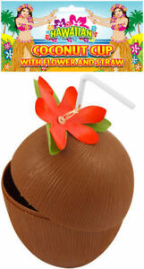 Coconut-tasse-avec-paille-amp-FLEUR-hawaiian-luau-party-tropical-plage