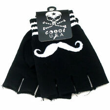 New Mustache Fingerless Gloves Black White one size GOTH WARMER