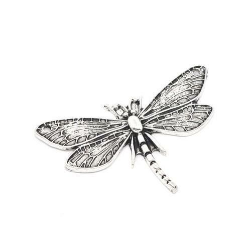 Dragonfly encanto plata tibetana antiguo//Colgante 49mm 2 encantos Accesorio Crafts