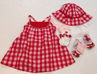 Gymboree Summer Picnic 0-3 Watermelon Red Gingham Dress Hat Socks & Sandals