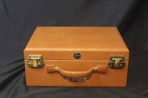 Vintage-1950-039-s-Shortrip-Short-Trip-Train-Luggage-Make-Up-Case-Leather-NO-KEYS