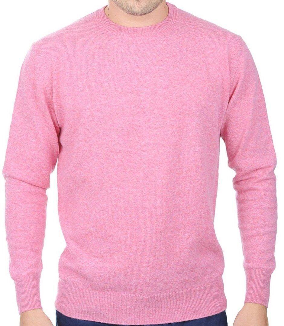Balldiri 100% Cashmere Cashmere Uomo Uomo Uomo Pullover Girocollo in esclusiva rosa L 1e2afd