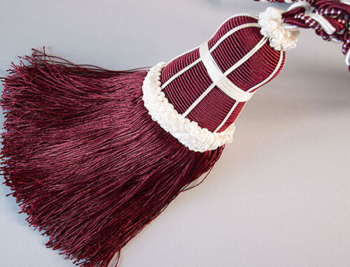Deep Red & White Tassels With Lots Of Fringe for Curtains. Extra Large & Heavy