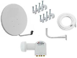Satellite-Dish-Kit-110cm-White-Galvanized-Antenna-LNB-Quad-Wall-Bracket-Cable