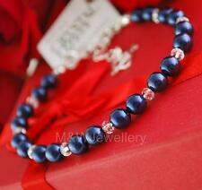 BRACELET SWAROVSKI ELEMENTS PEARL NIGHT BLUE & BRIOLETTE Sterling silver 925