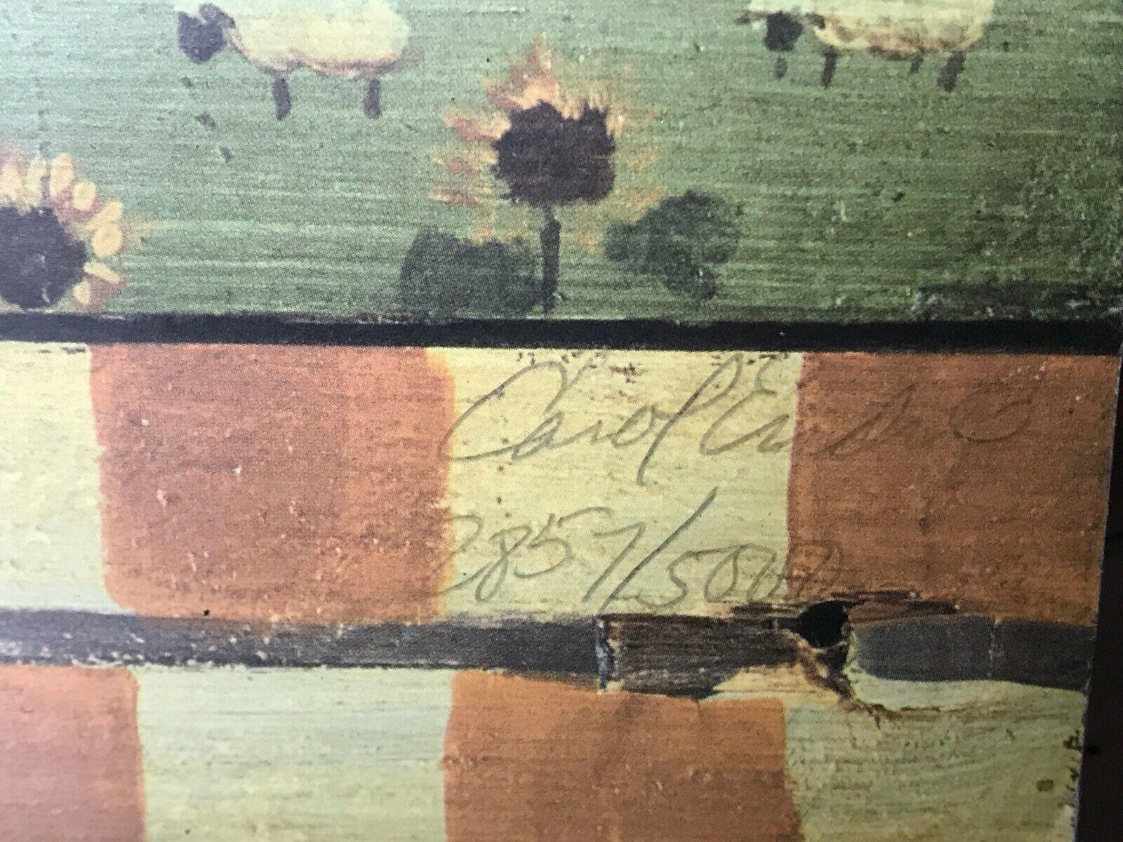 CAROL ENDRES EARLY EARLY EARLY AMERICA ON BOARD WOOD FOLK ART ANGELS DEER SHEEP CHURCH COA c137b9