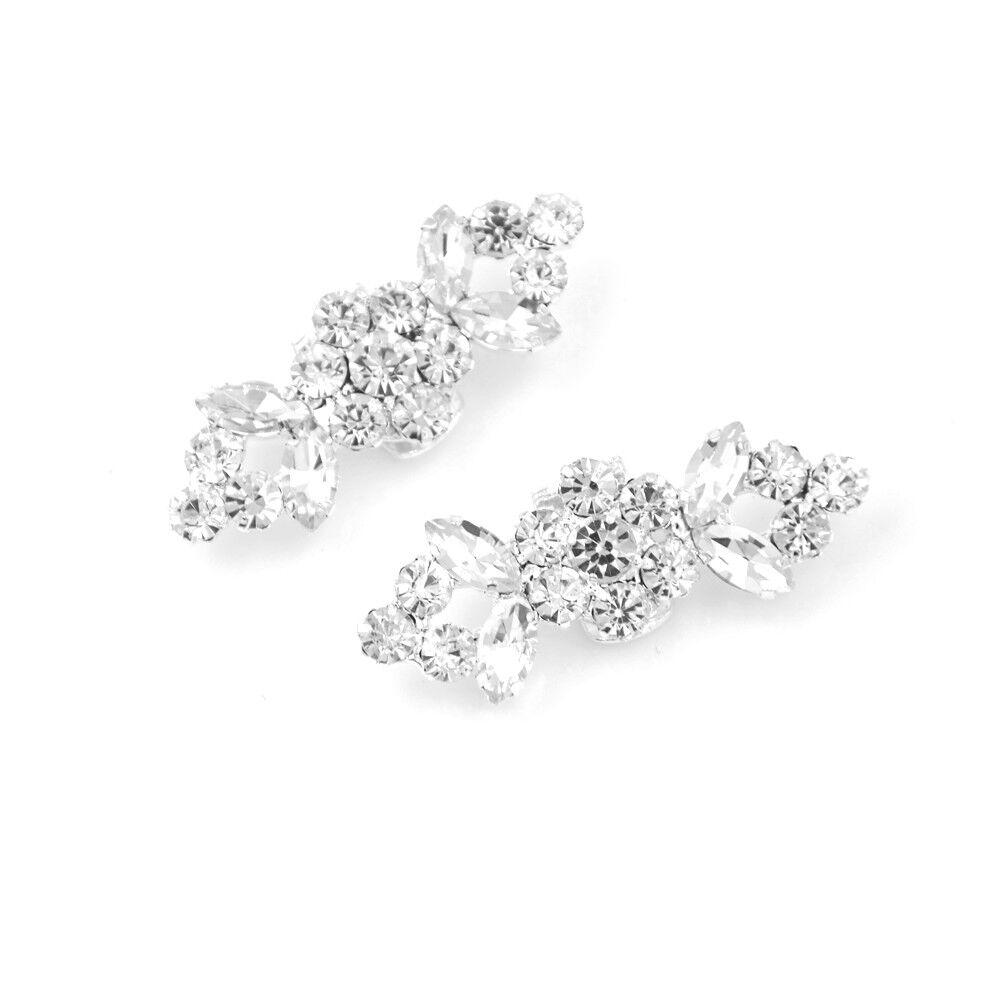 2Pcs/Pair Shoes Clips Rhinestone Crystal Flower Buckle Bridal Wedding Decor F Fc