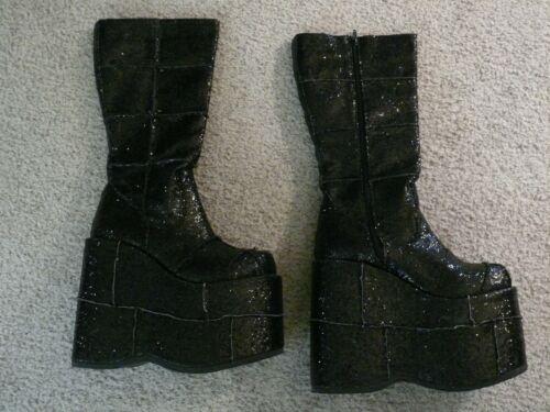 Glamrock Platform Boots Black Glitter Demonia Sz 9