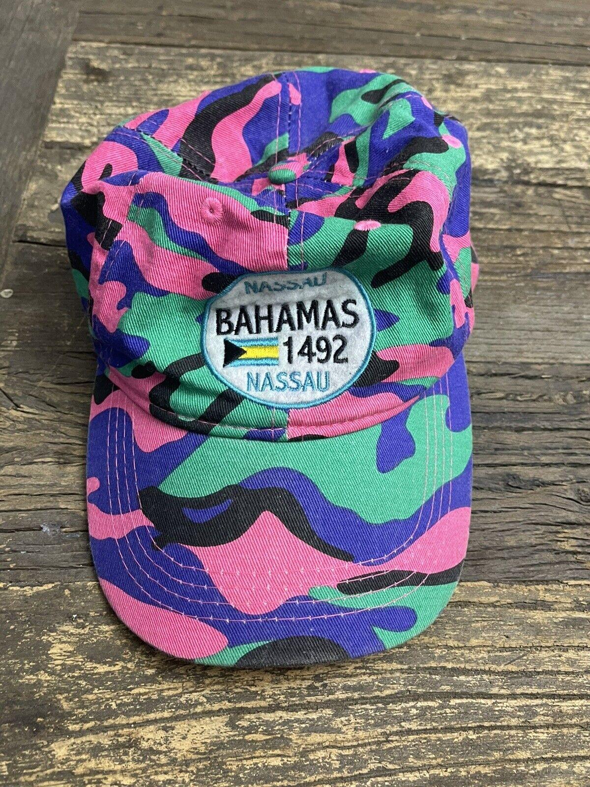 Vtg 80s rad Bahamas Hat Logo Adj. Back Beach Baseball Trucker Neon Cap