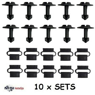 10 x SET VW / AUDI A3 A4 A6 UNDER ENGINE TRAY WHEEL ARCH COVER FASTENER CLIPS