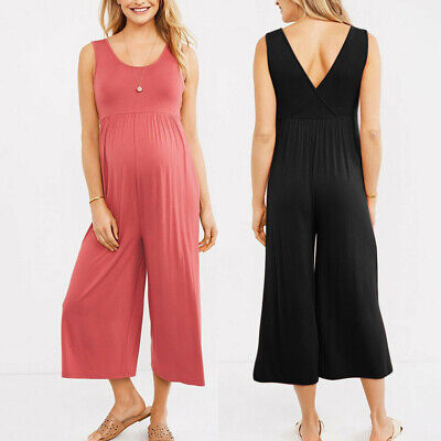 Women Pregnancy Maternity Casual Solid Tunic Sleeveless Jumpsuit Romper Pants ED