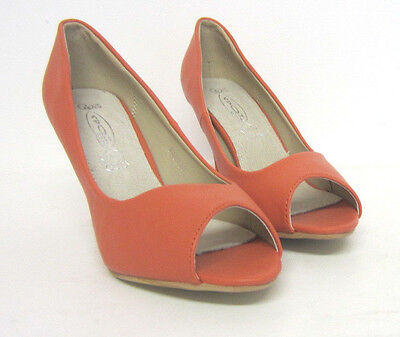 Spot On F10128 Damen Peeptoe Schuhe Korallenrot UK Größen 3-7 (R13B)